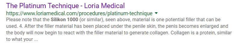 Description of Loria Medical's Platinum Procedure with Silicone.
